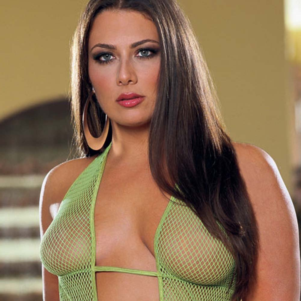 Fishnet Cut Out Halter Dress Lime/Green Plus Size - View #3