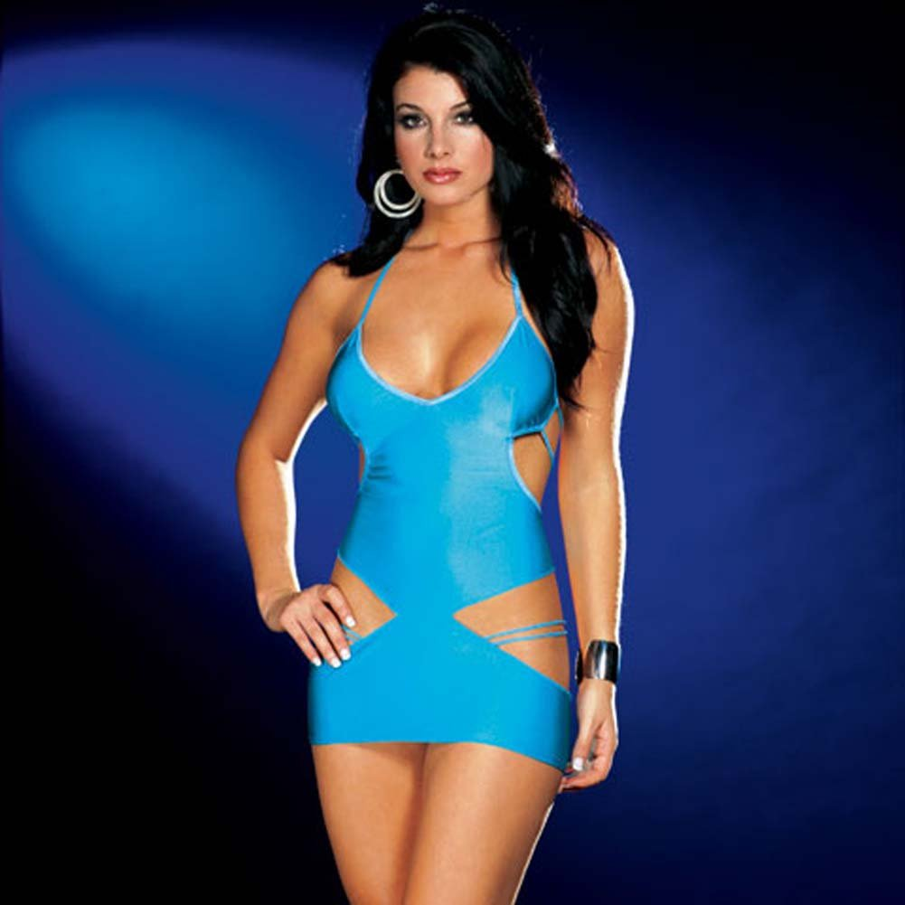 Strappy Halter Cut Out Dress Blue - View #2