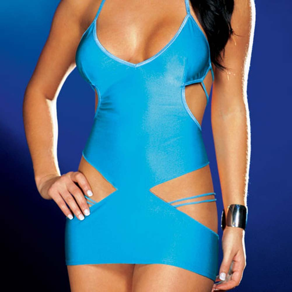 Strappy Halter Cut Out Dress Blue - View #4