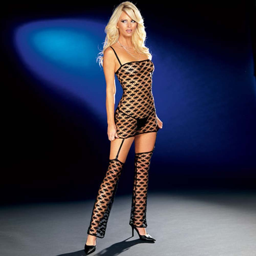 Net Garter Dress with Leggings and Thong Black Medium - View #1