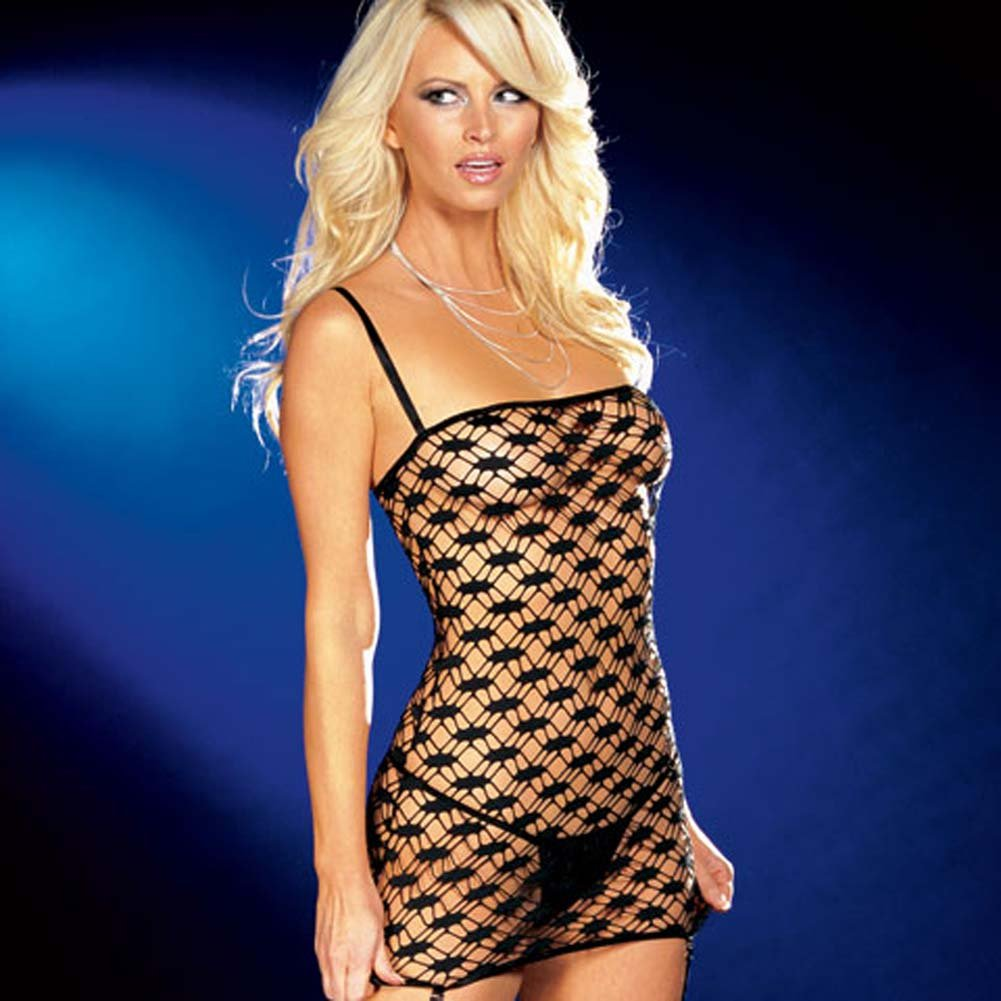 Net Garter Dress with Leggings and Thong Black Medium - View #3