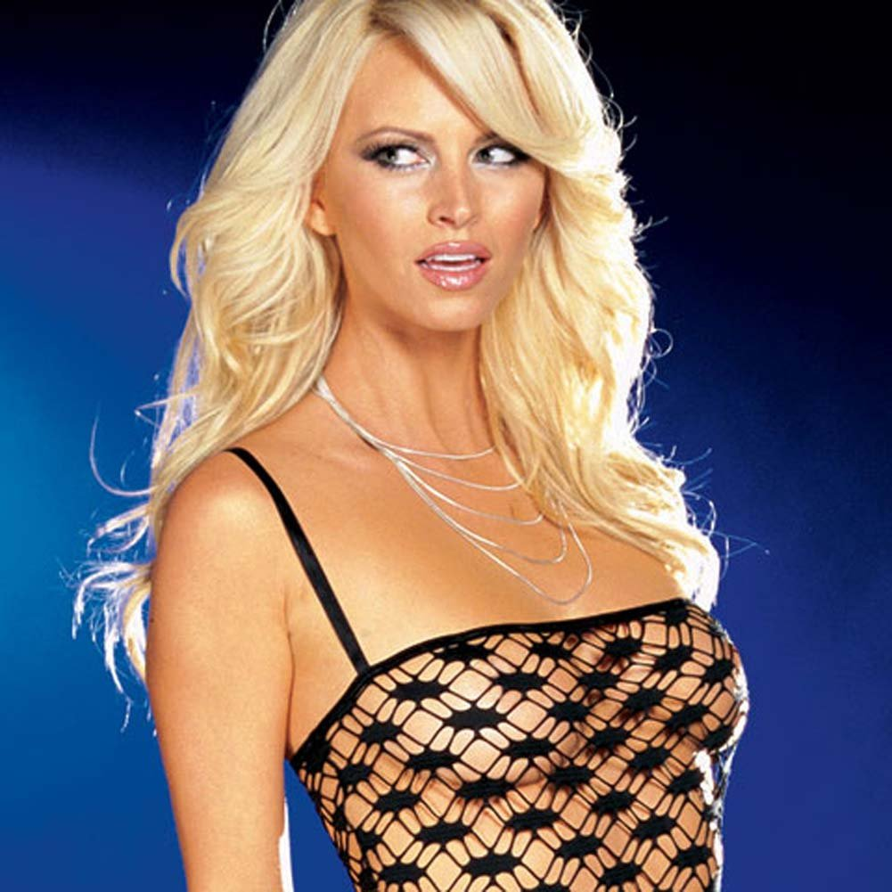 Net Garter Dress with Leggings and Thong Black Large - View #2