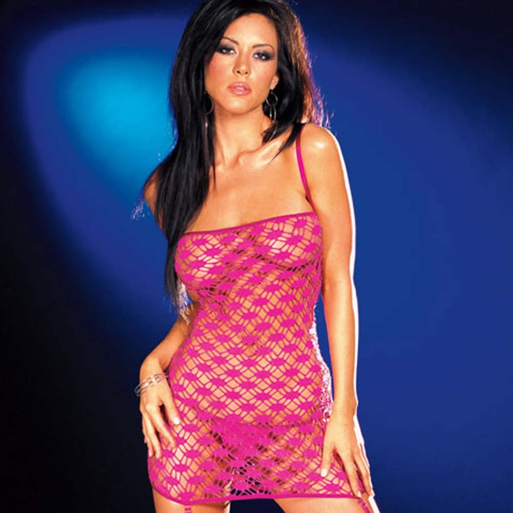Net Garter Dress with Leggings and Thong Hot/Pink Small - View #3