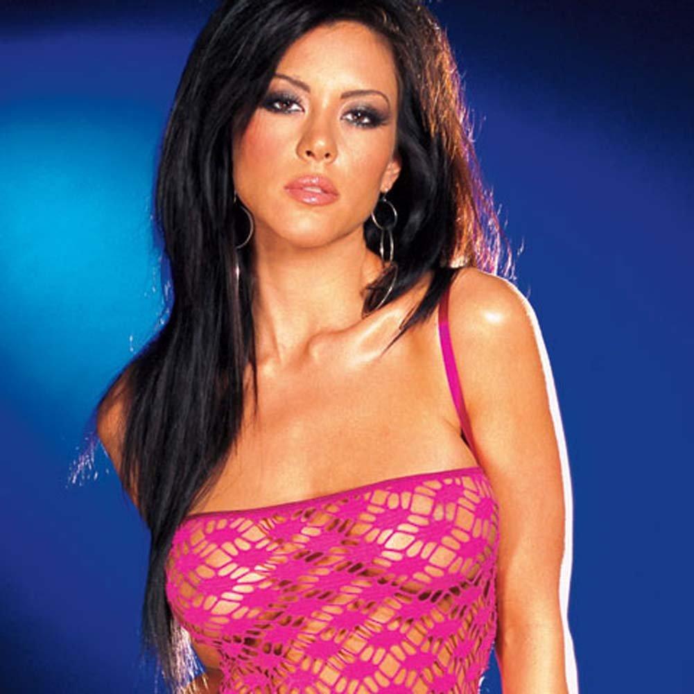 Net Garter Dress with Leggings and Thong Hot/Pink Medium - View #2