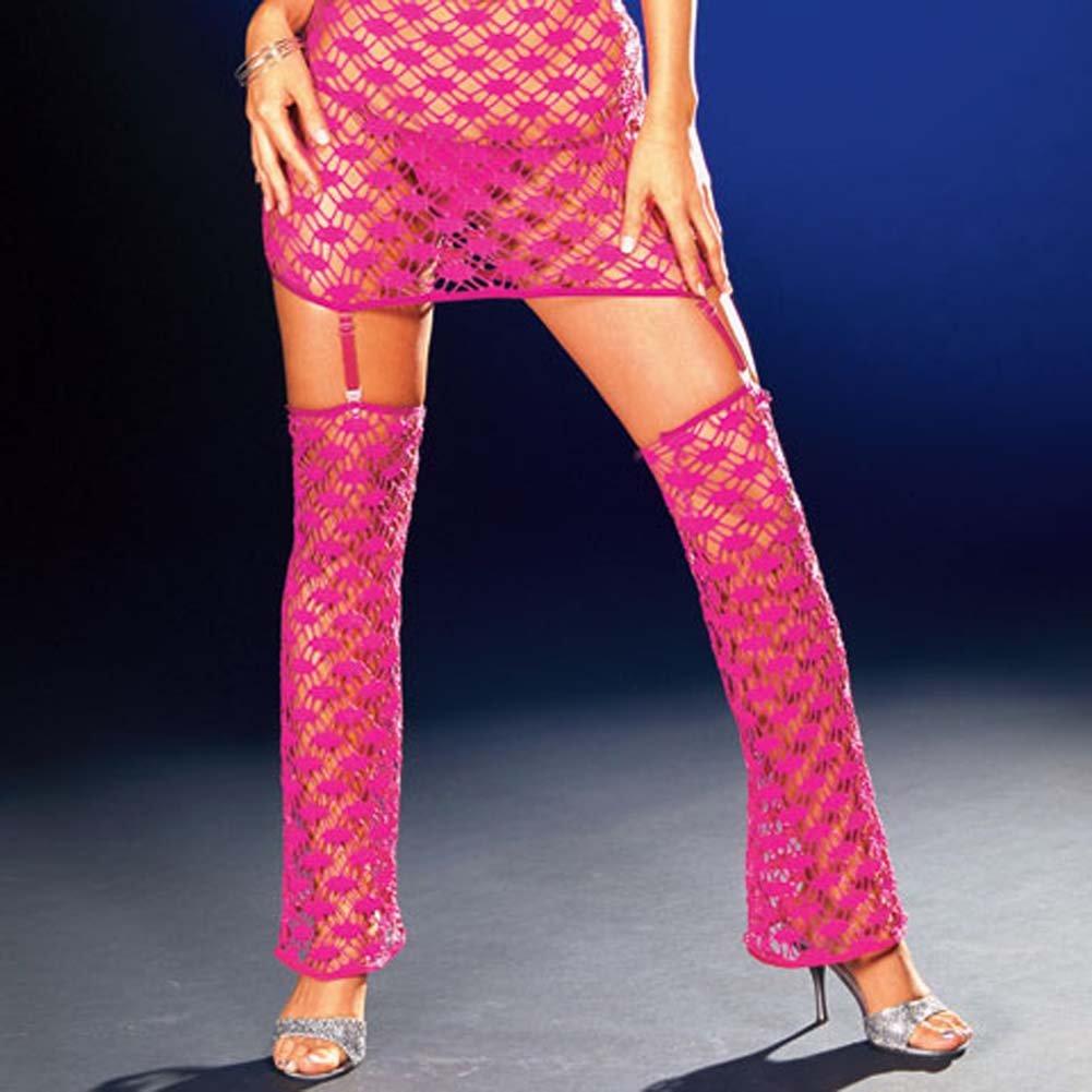 Net Garter Dress with Leggings and Thong Hot/Pink Medium - View #4