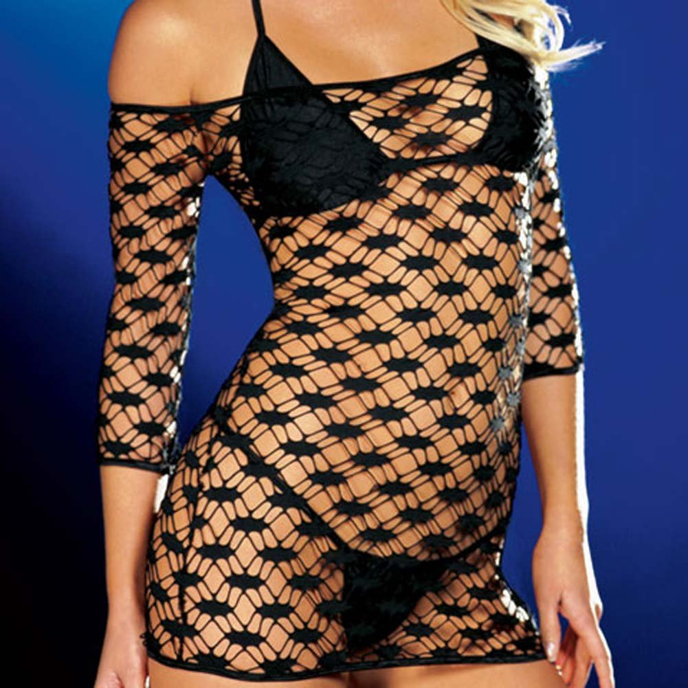 Net Sleeve Dress and Bikini Set Black Medium - View #3