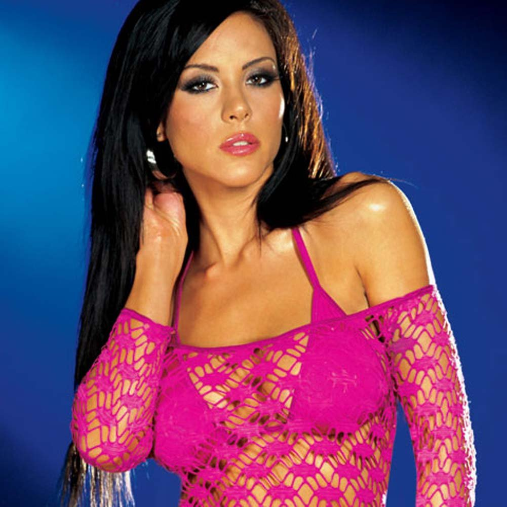 Net Sleeve Dress and Bikini Set Hot/Pink Small - View #2