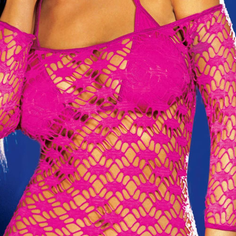 Net Sleeve Dress and Bikini Set Hot/Pink Small - View #4