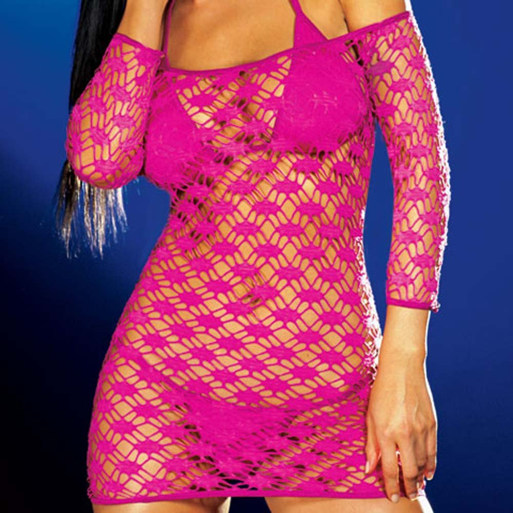 Net Sleeve Dress and Bikini Set Hot/Pink Medium - View #3