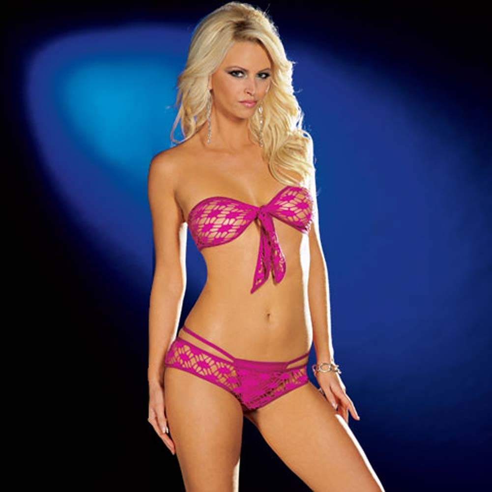 Fishnet Tie Front Top with Shorts and Thong Hot/Pink Medium - View #1