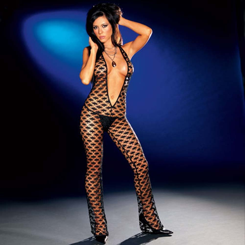 Fishnet Halter Bodysuit with Thong Black Small - View #1