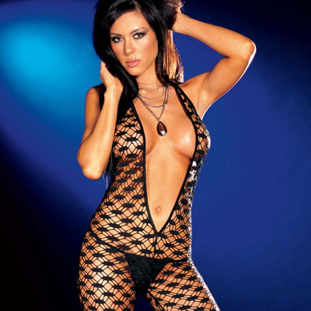 Fishnet Halter Bodysuit with Thong Black Small - View #3