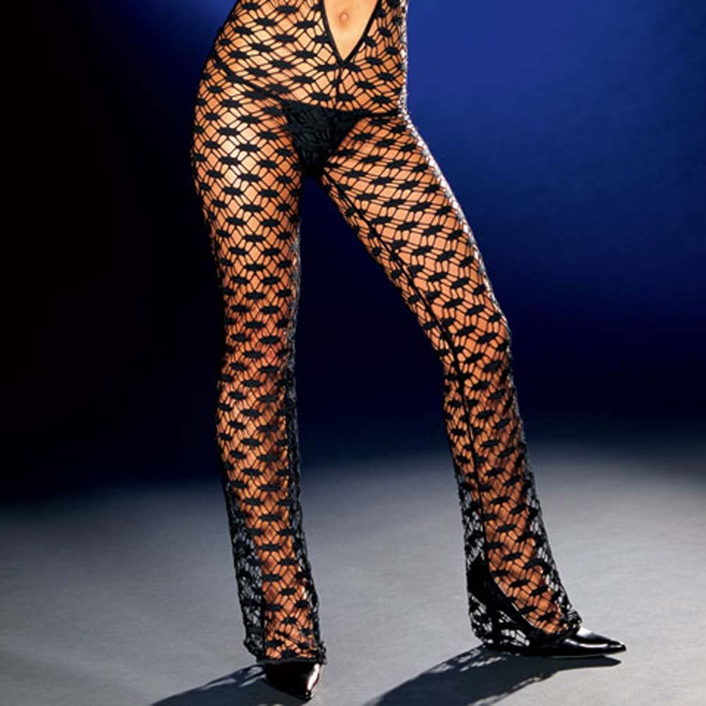 Fishnet Halter Bodysuit with Thong Black Large - View #4