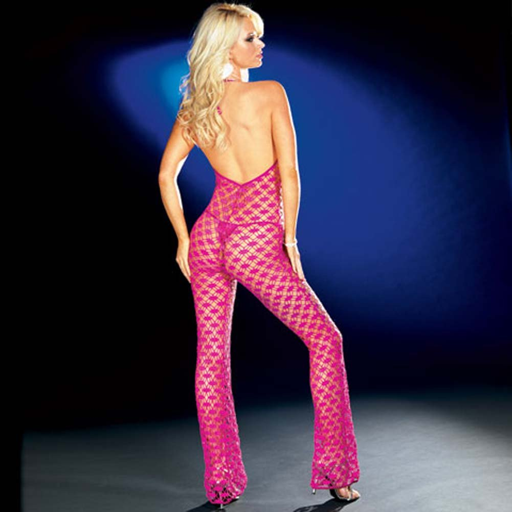 Fishnet Halter Bodysuit with Thong Hot/Pink Medium - View #2