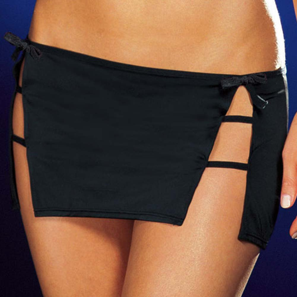 Halter Top with Strappy Slit Skirt and Thong Black Small - View #4