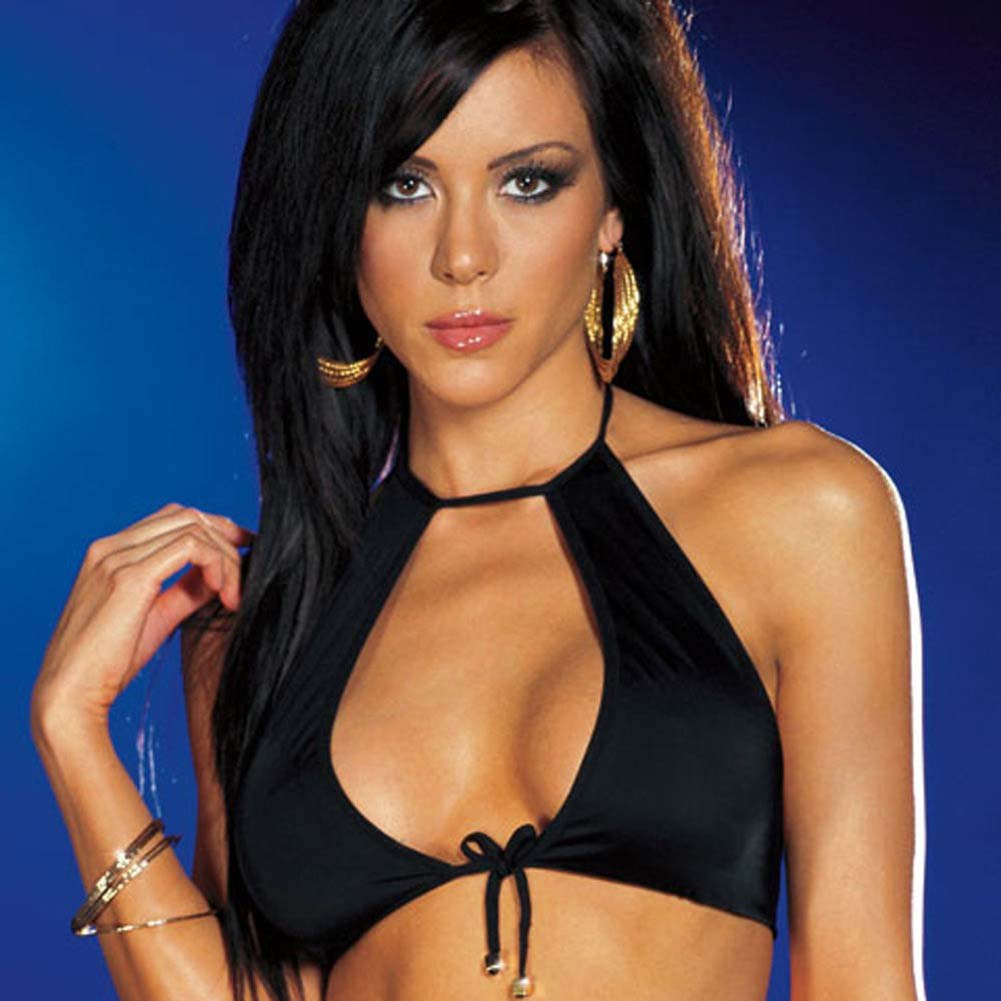 Halter Top with Strappy Slit Skirt and Thong Black Large - View #2