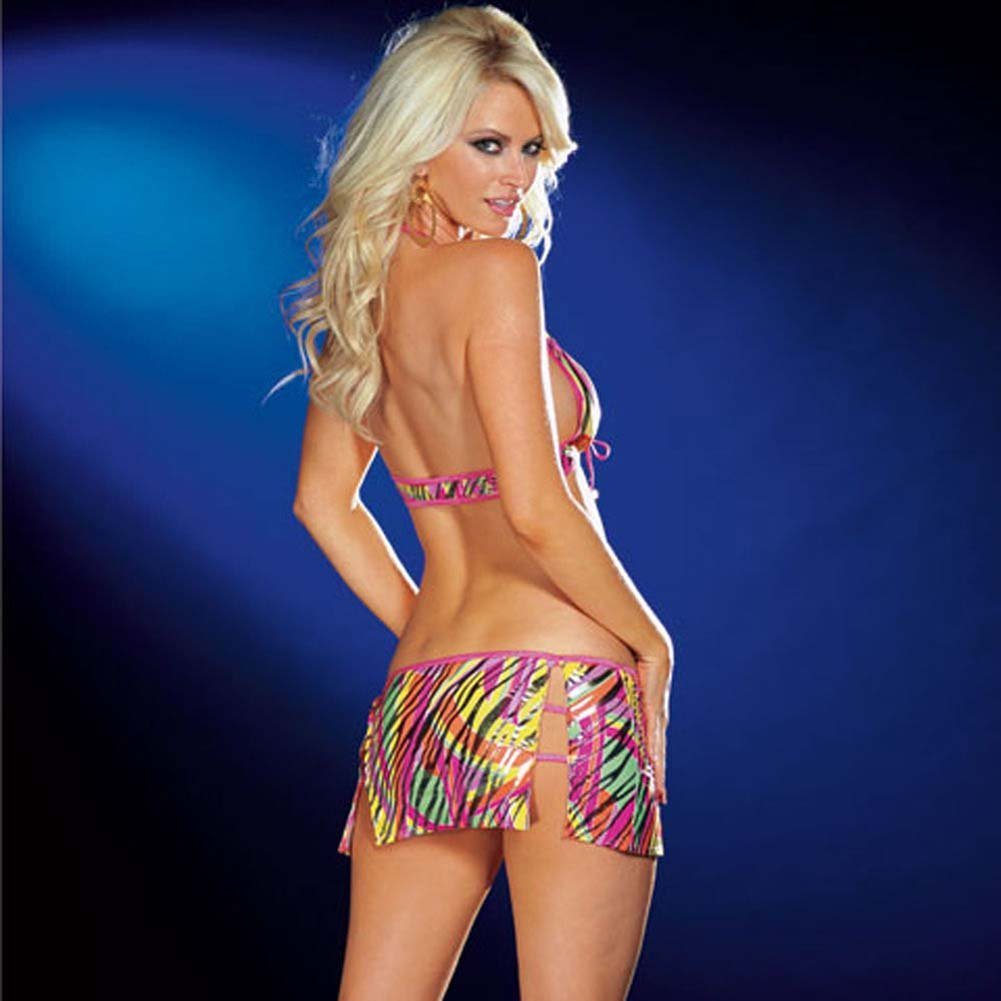 Halter Top with Strappy Slit Skirt and Thong Print Large - View #2