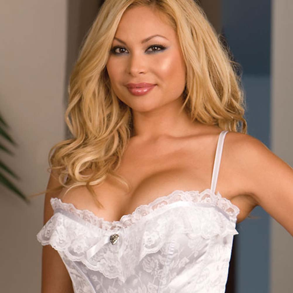 Lace and Satin Jacquard Corset White Plus Size 40 - View #2
