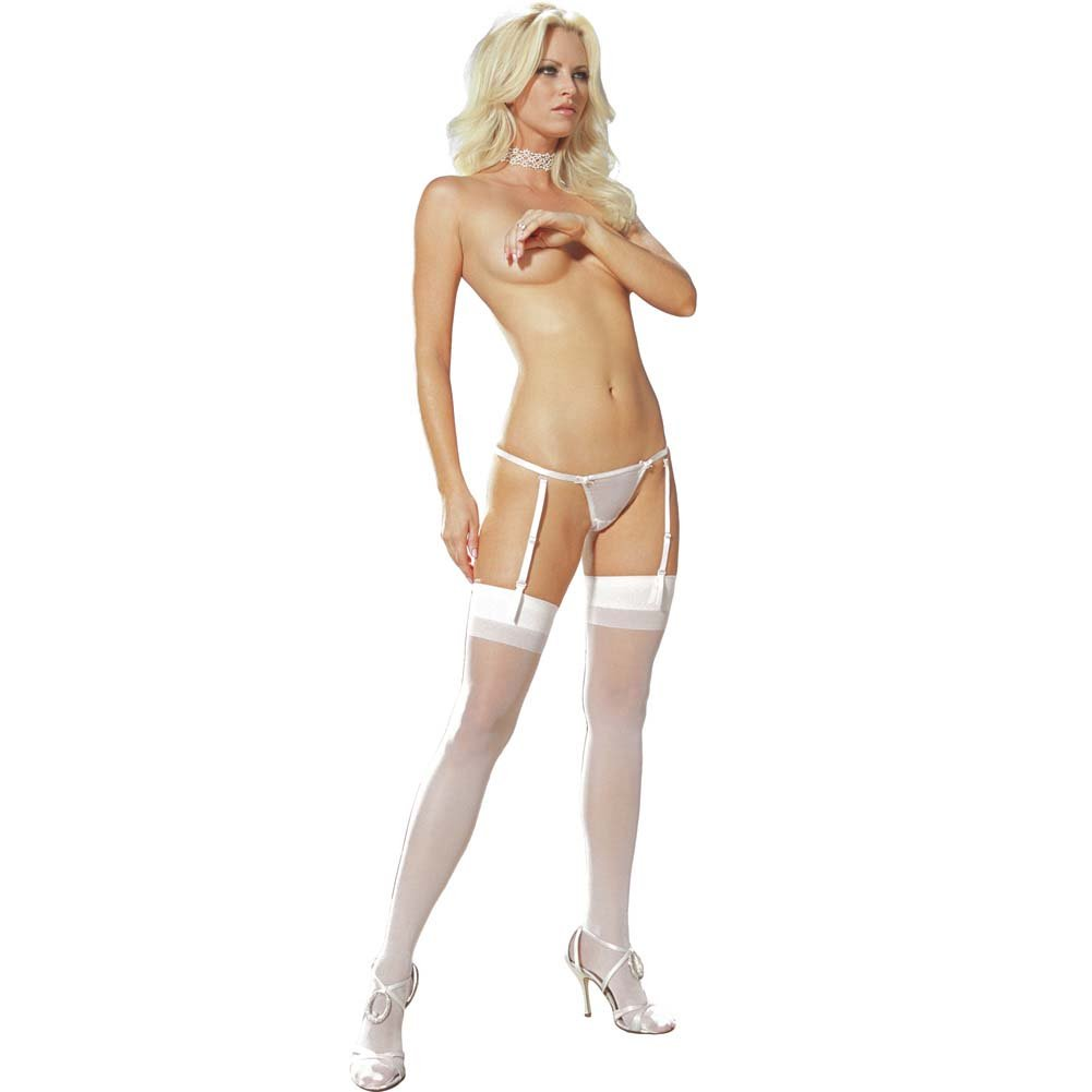 Triple Trouble Thong Garter and Stocking Set One Size White - View #1
