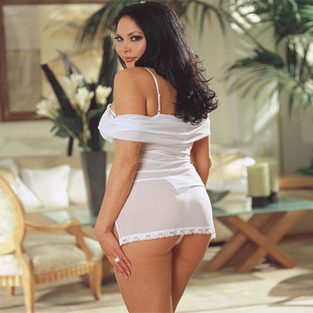 Wedded Bliss Mesh Teddy Plus Size White - View #3