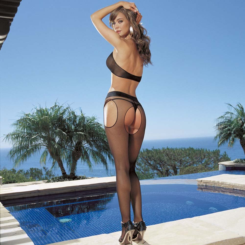 Vienna Fishnet Bra and Suspender Pantyhose Set Black - View #2