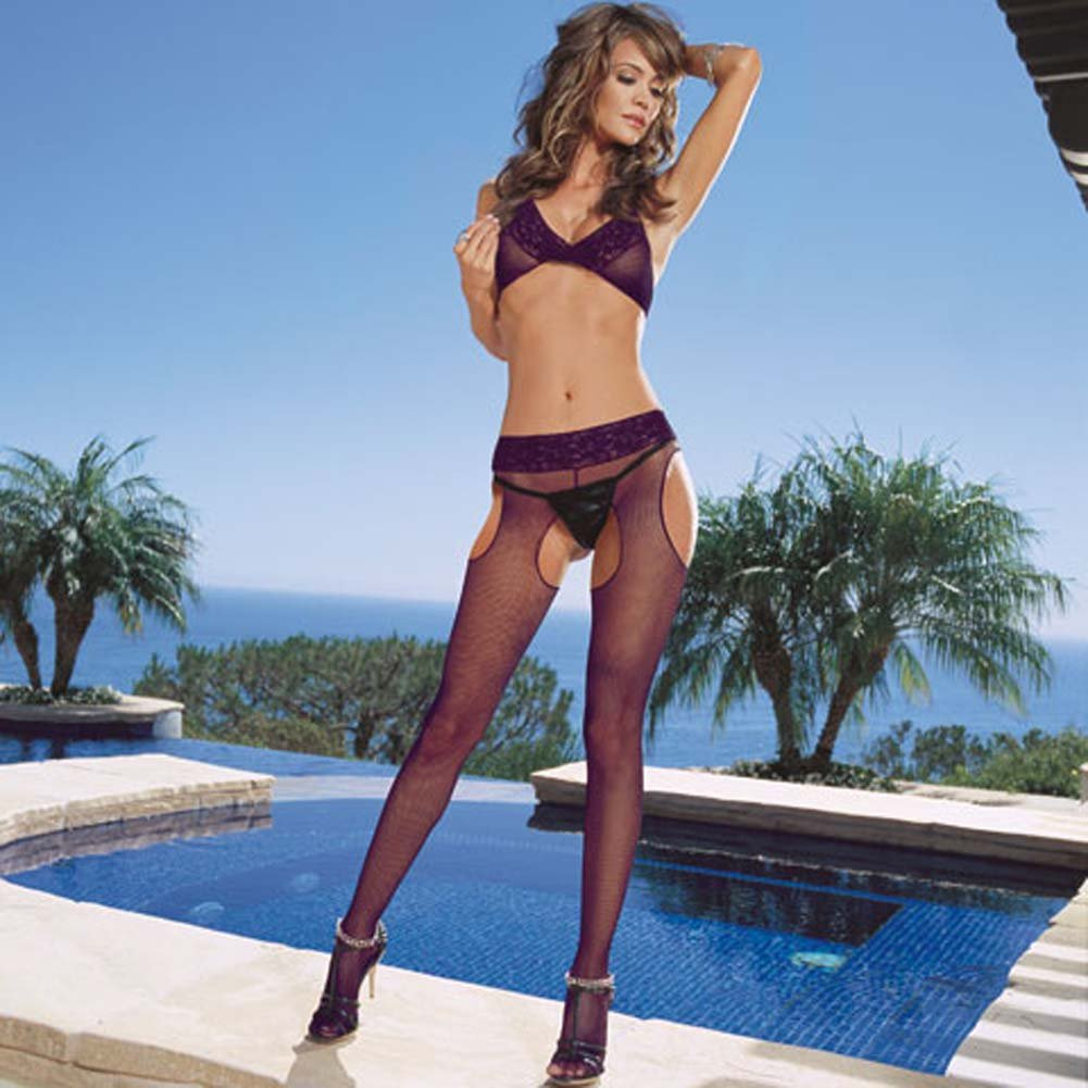 Vienna Fishnet Bra and Suspender Pantyhose Set Purple - View #1