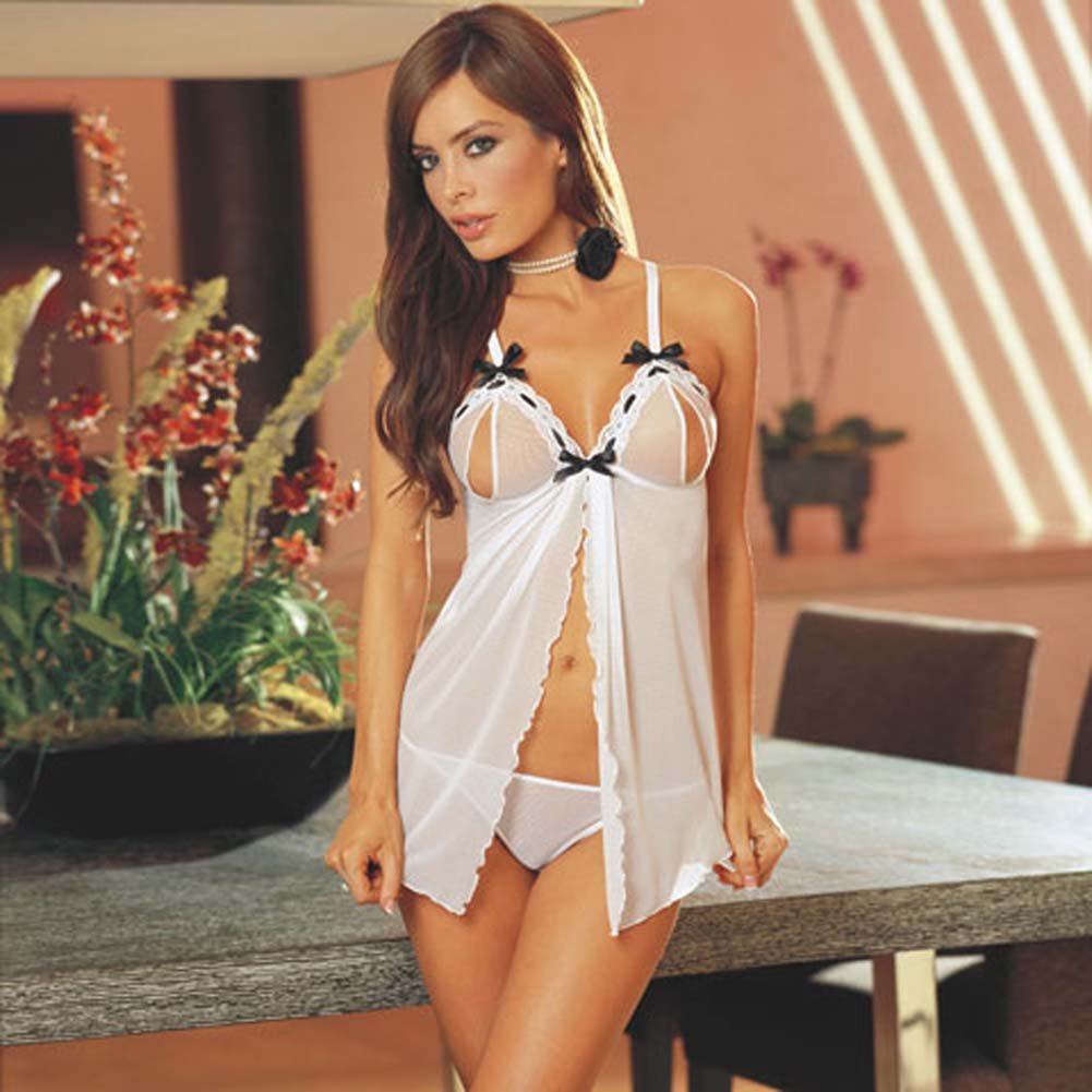 Sheer and Sexy Slit Cup Babydoll with Thong White Small - View #1