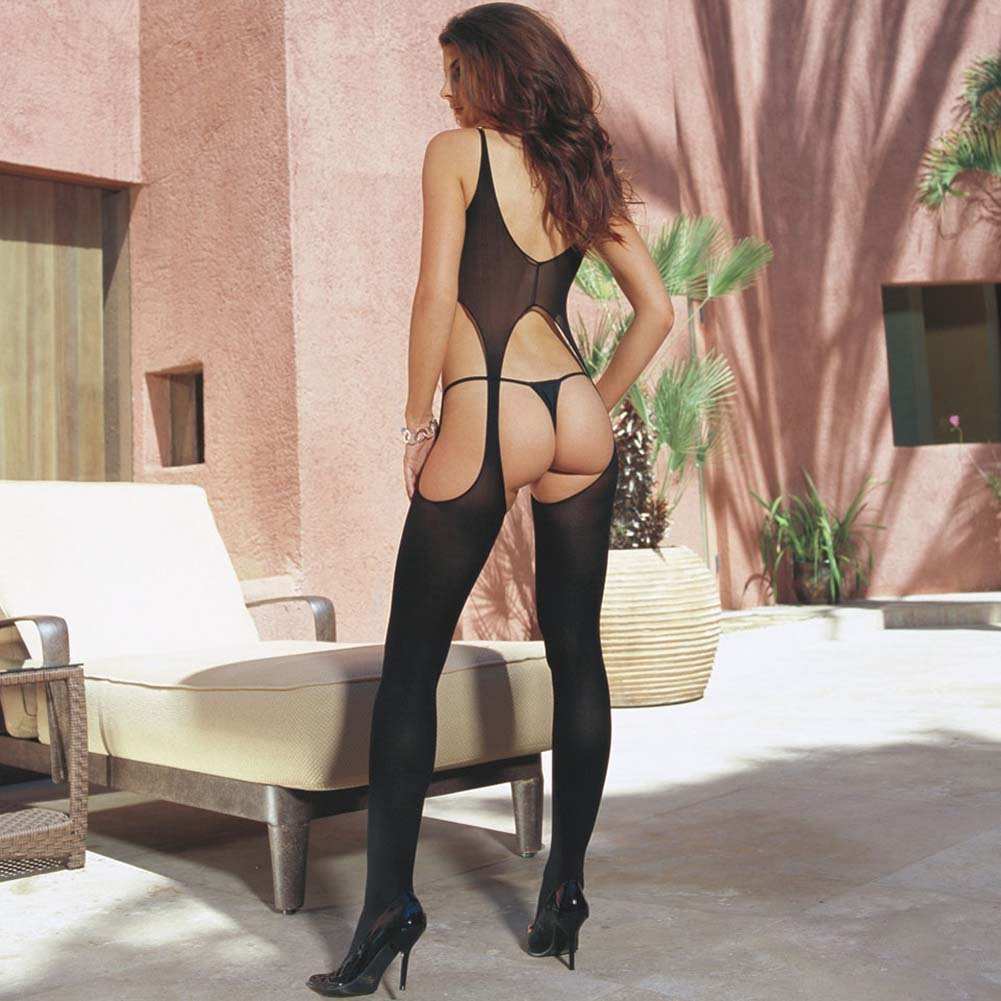 Dreamgirl Suspender Bodystocking One Size Black - View #3