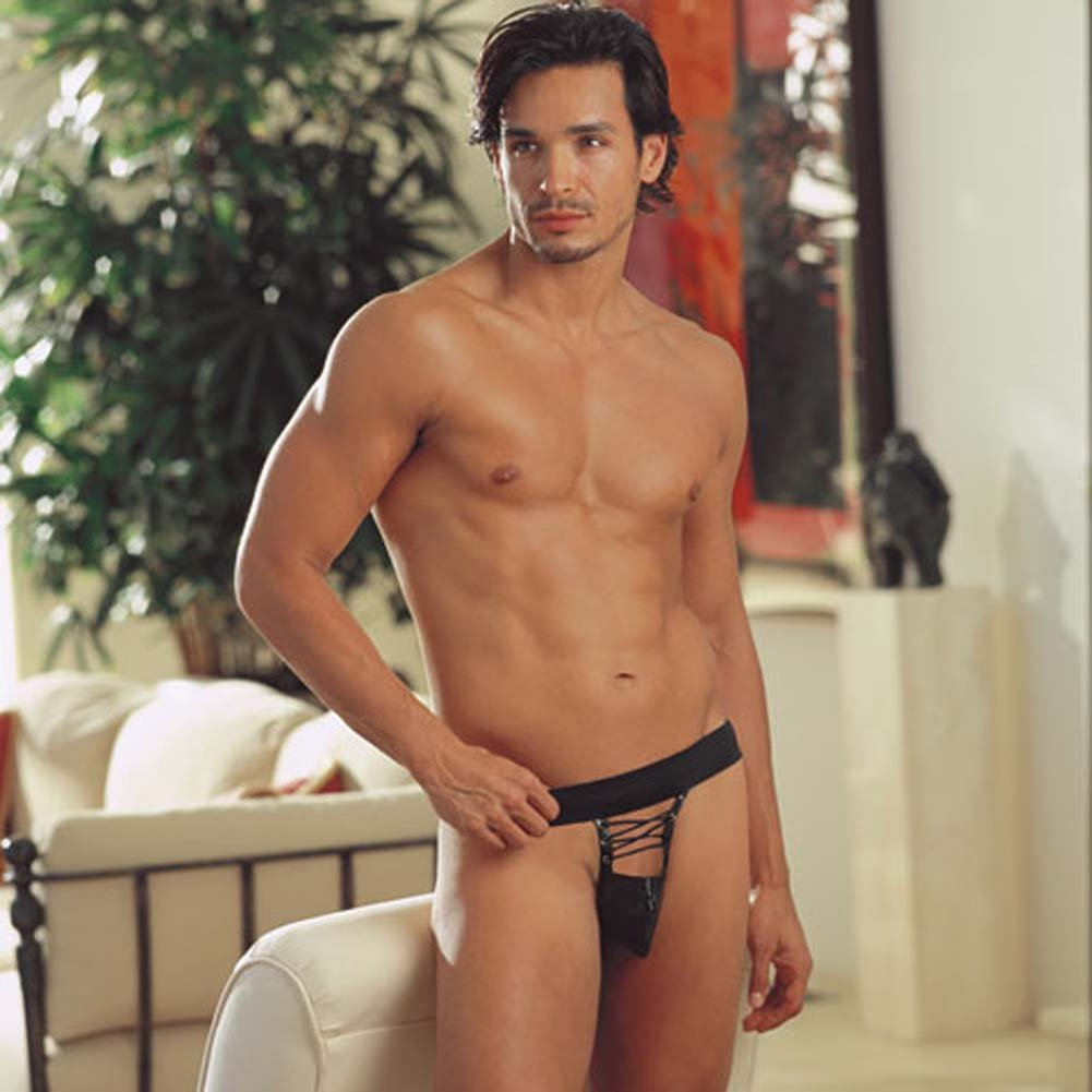 Sexy Faux Leather Lace Up Front Jock Black Large/ExtraLarge - View #1