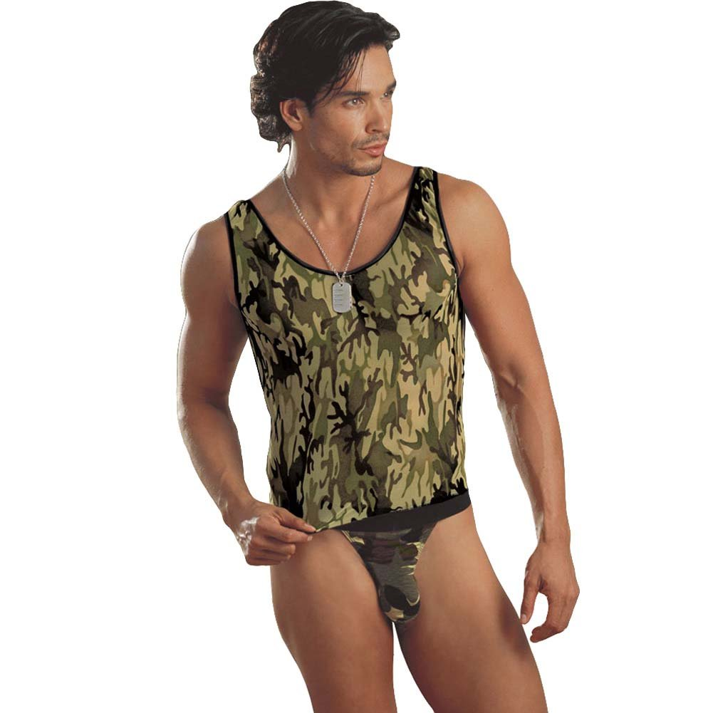 Camouflage Muscle Tank with Thong and Military Tag Large/XL - View #1