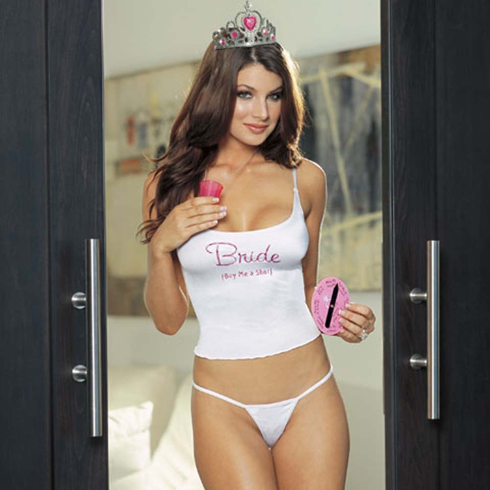 Bachelorette Set with Bride Camisole Crown and Thong White - View #1