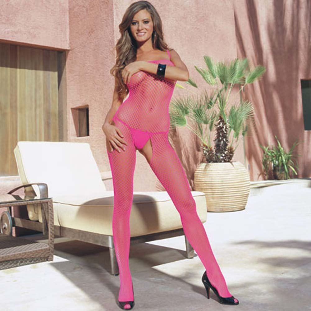 Cool Geneva Net Open Crotch Bodystocking Hot Pink - View #1
