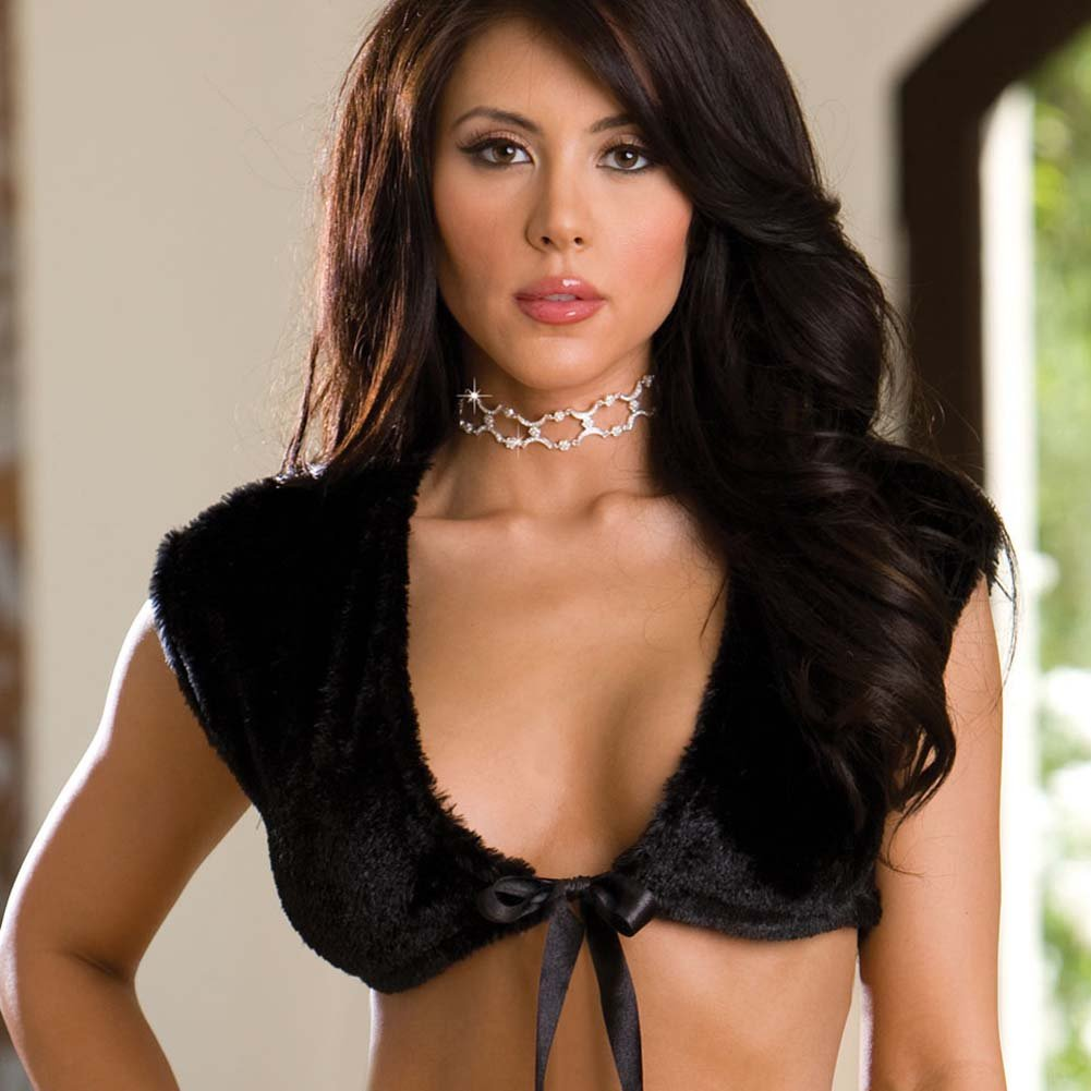 Glamorous Night Fur Shrug and Thong Set Black Medium - View #2
