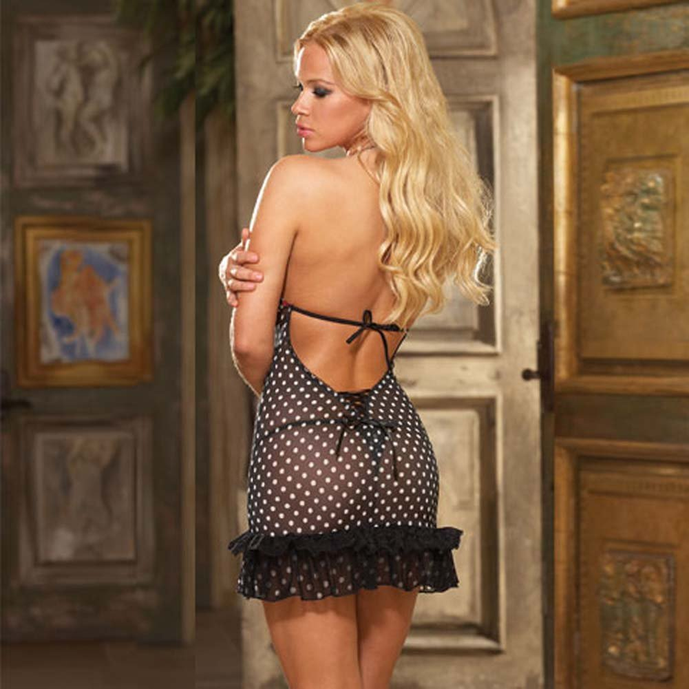 Dotted and Laced Halter Chemise with Thong Black Large - View #2