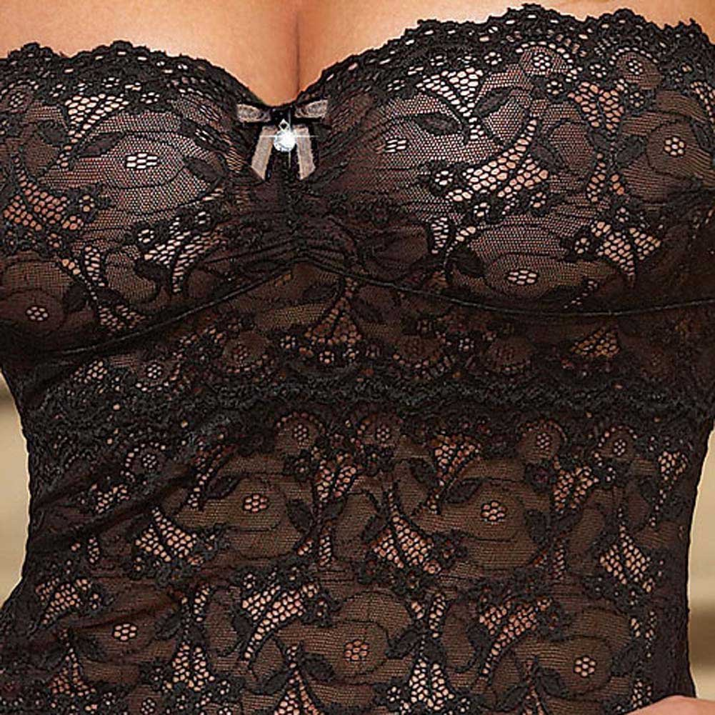 Seductive Strapless Chemise with Fringe and Panty Black Med - View #4