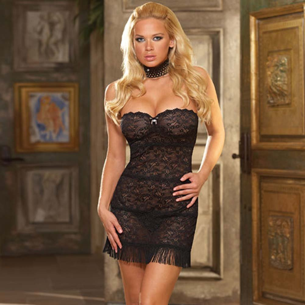 Seductive Strapless Chemise with Fringe and Panty Black Lg - View #1