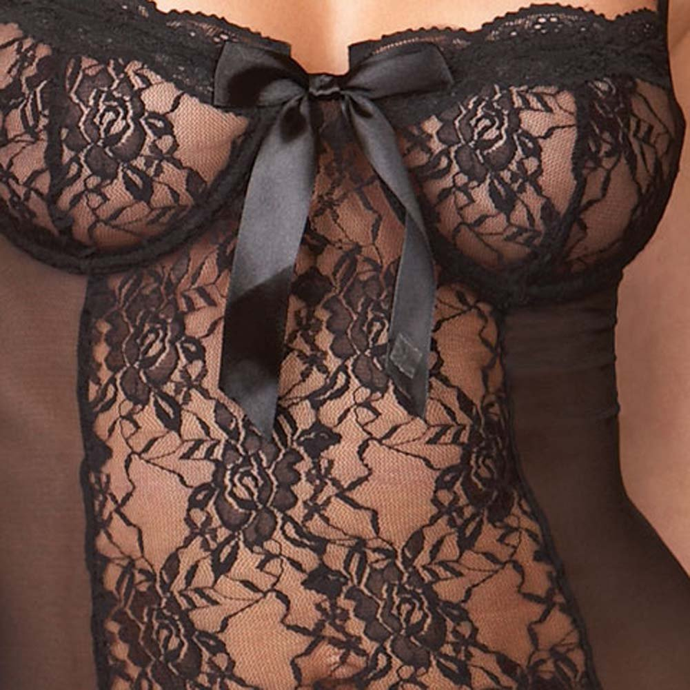 Eye Catching Sheer and Ruffle Babydoll with Panty Black Sm - View #4