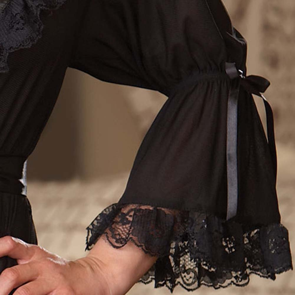 Stylish Lounging Robe and Thong Black Small - View #4