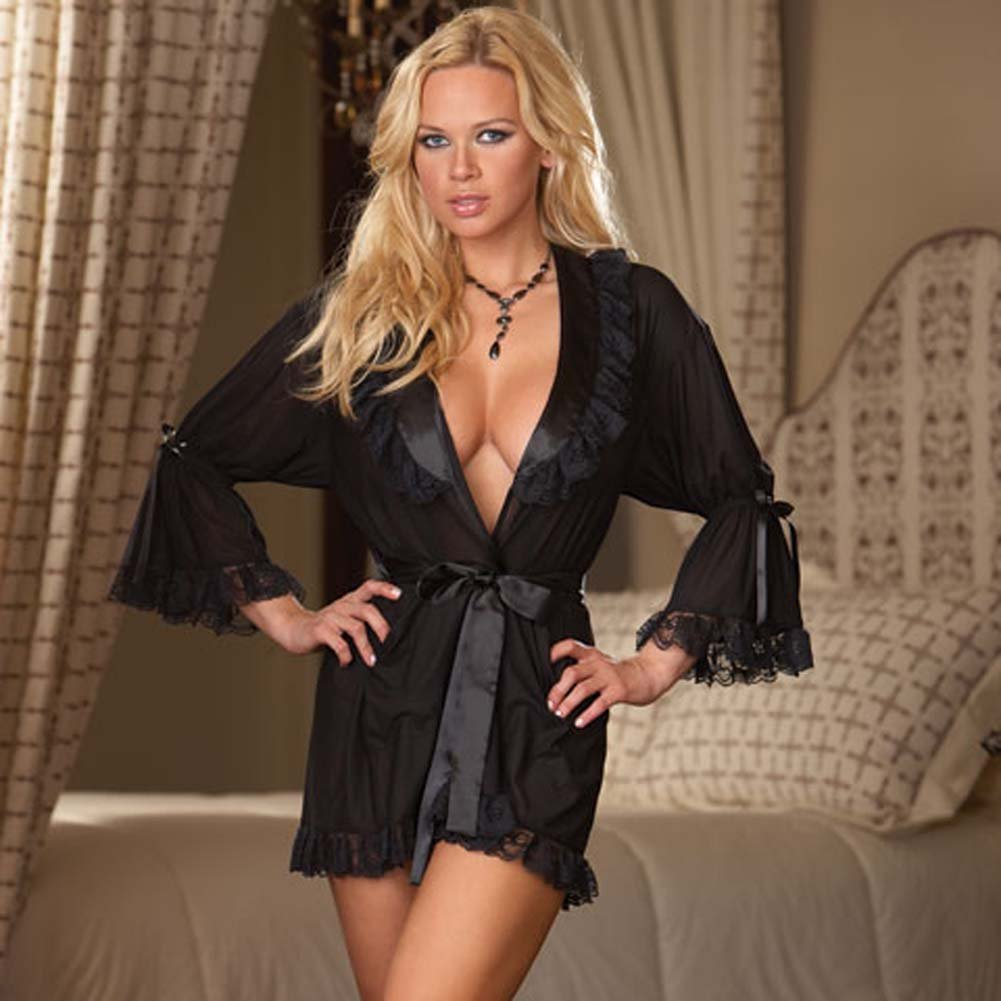 Stylish Lounging Robe and Thong Black Plus Size 3X/4X - View #1