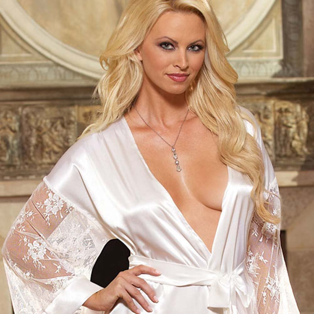 Luxurious Long Robe with Panty and Hanger White Small - View #2