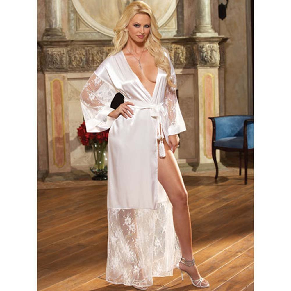 Luxurious Long Robe with Panty and Hanger White Medium - View #1