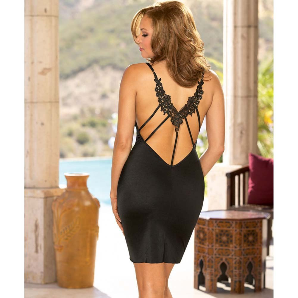 Lovely Low Neckline Chemise and Thong Set Plus Size Black - View #2