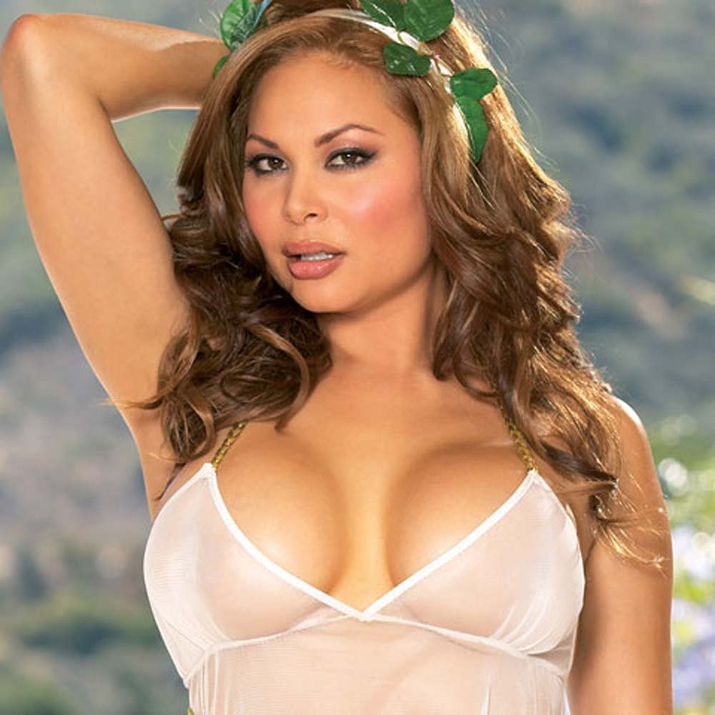 Greek Goddess Halter Babydoll with Leaf Headband and Thong Q - View #3