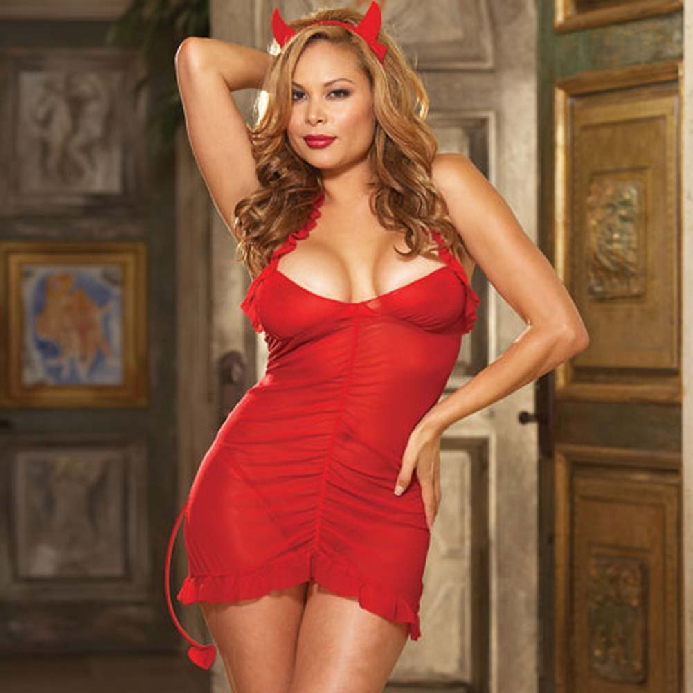 Sinners Paradise Chemise with Devil Tail and Horns Plus Size - View #1