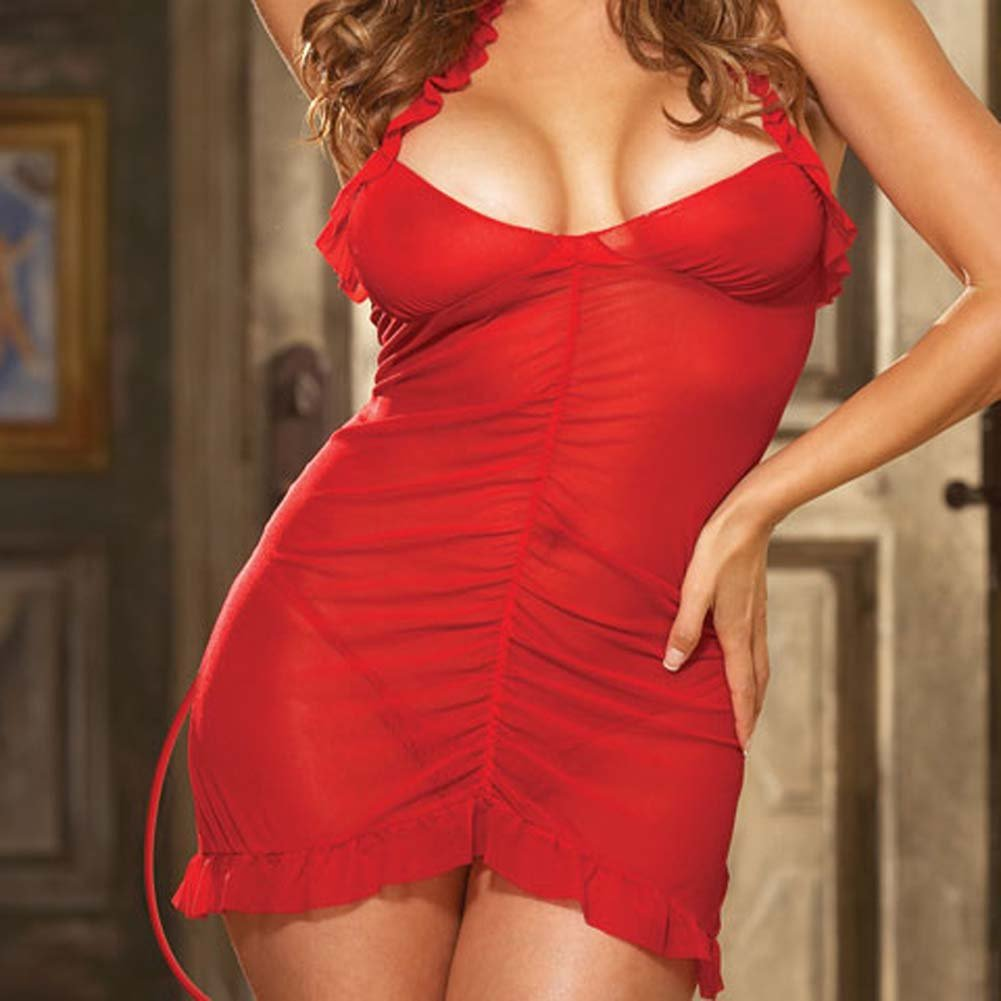 Sinners Paradise Chemise with Devil Tail and Horns Plus Size - View #3