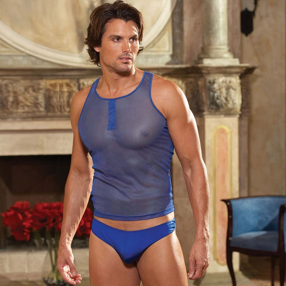 Mens Tank and Brief Blue Medium/Large - View #1