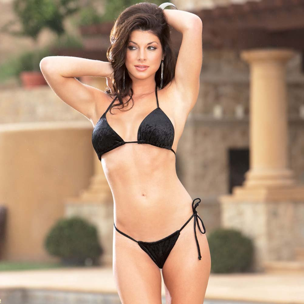 Velvet Kisses Lined Halter Bikini Set Black Small/Medium - View #1
