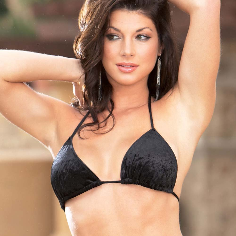 Velvet Kisses Lined Halter Bikini Set Black Small/Medium - View #3