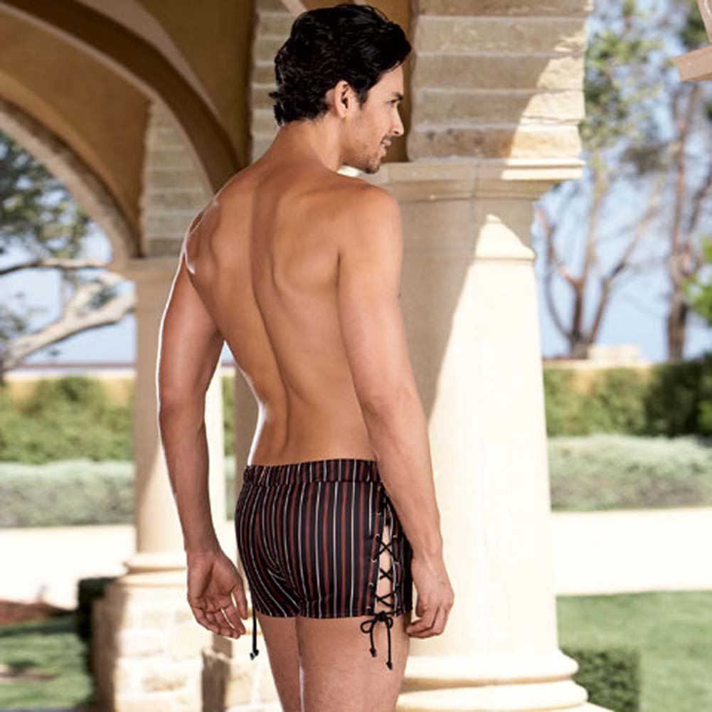 Slimming Stripe Boxer with Lace Up Sides Medium/Large - View #2