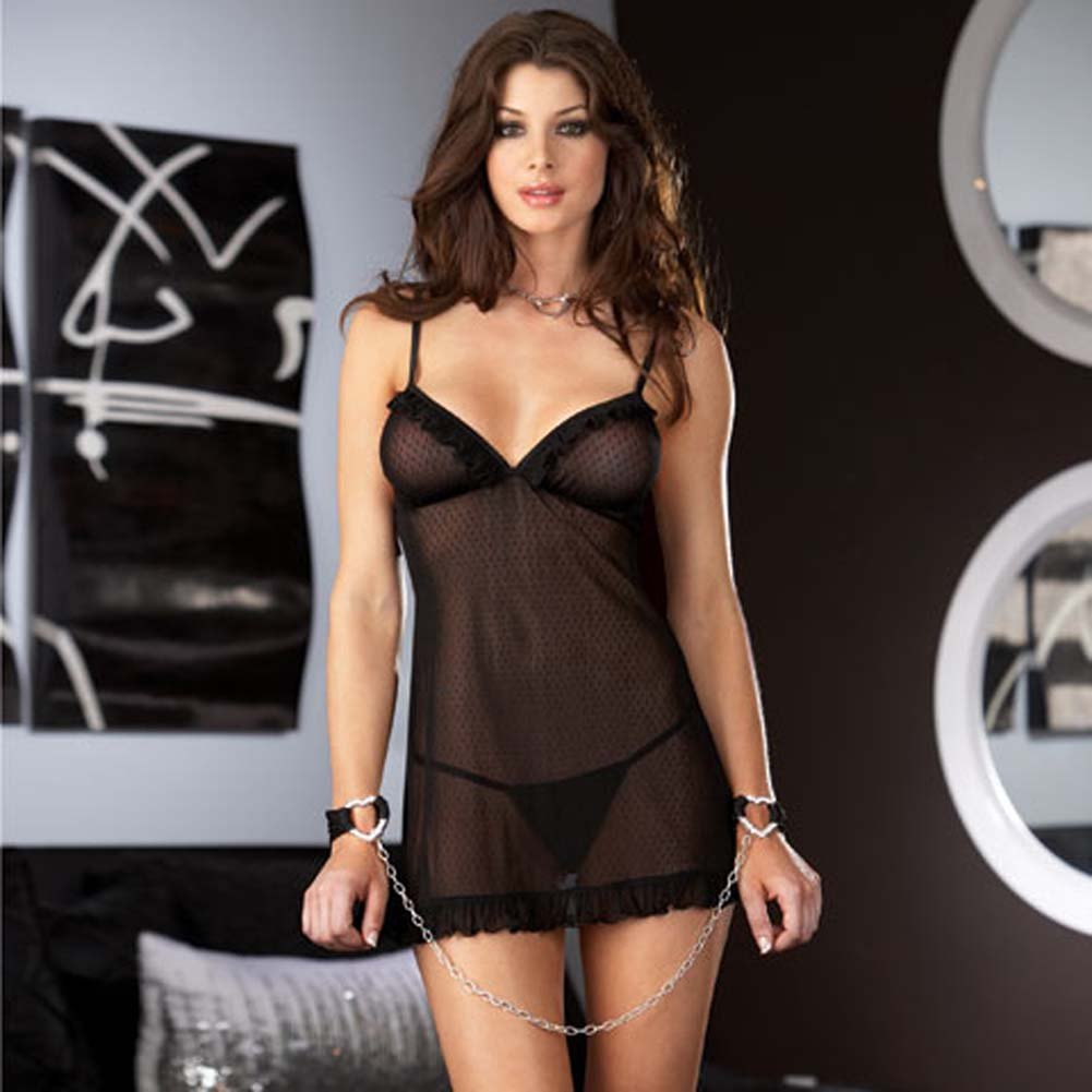 Classy Patterned Chemise with Chain Heart Cuffs and Panty - View #1